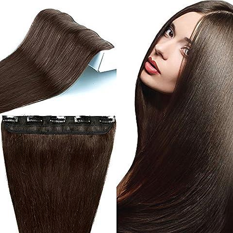 Extension de Cheveux Naturels à Clips Raide - #2 CHATAIN FONCE - Une Pièce - 100% Remy Hair Grade 7A - Clip in Human Hair Extension - 55CM 55G