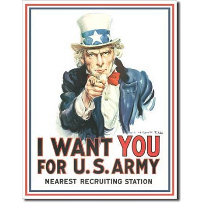 Uncle Sam I Want You for U.S. Army Retro Vintage Tin Sign by Poster Revolution