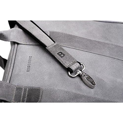 Brodrene echtes Leder Herren Schulter Laptop Tasche Premium Dundee BL01 (Grau/Rot) Grau/Rot