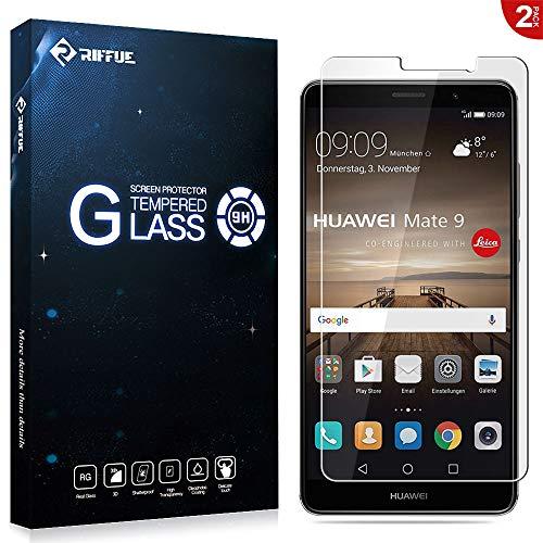 RIFFUE Verre Trempé Huawei Mate 9, [Lot de 2] Protection écran Film Glass Screen Vitre Protecteur Anti Casse, Anti-Rayure pour Huawei Mate 9 – [Dureté 9H][3D Touch], Haute-réponse, Haute Transparence