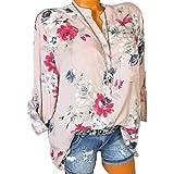 Kobay Damen Übergröße Chiffon Blumenmuster Lange Ärmel Kragen Bluse Pullover Tops Shirt(Small,Rosa)