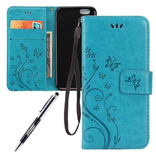 iPhone-6-Plus-Custodia-iPhone-6S-Plus-Custodia-iPhone-6-Plus-Custodia-in-Pelle-Portafoglio-JAWSEU-Shock-AbsorptionAnti-Scratch-Lusso-3D-Goffratura-Fiore-Farfalla-Wallet-PU-Leather-Flip-Cover-Custodia-