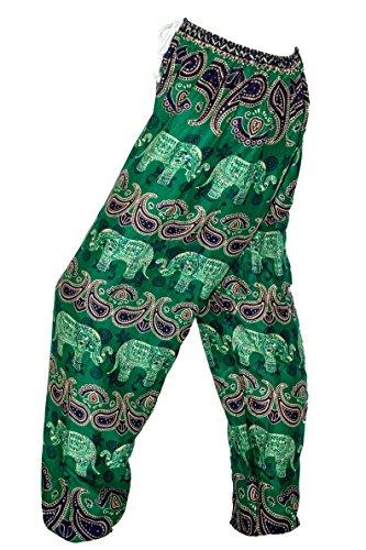 Mr.Bangkok Haremshose - Aladdin Hippie Hose mit Tunnelzug Elephant 3 Green