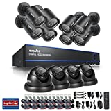 Sannce 16-Channel HD 1080N/ 720P Surveillance DVR (No HDD )with 12 PCS Day