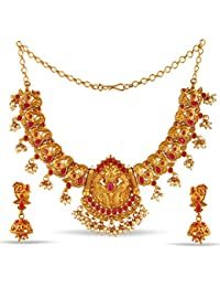 Variation Creative Ethnic Swan Design Gold Plated Jewellery Necklace Set-VD18165