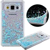 Transparente Funda para Samsung Galaxy A5,URFEDA Transparente Plástico Duro Case Cover Bling Bling Shiny Glitter Brillante Azul Amor Loveheart Carcasa Fluido Líquido Bumper Cubierta para Samsung Galaxy A5.