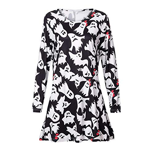 (Togelei Halloween Kleid Frauen Langarm Fetch Halloween Printing Abend Prom Kostüm Swing Kleid O-Neck Print Locker lässiges Kleid Halloween Ghost Print Kleid Prom Clubwear Chiffon Sexy Kleid)