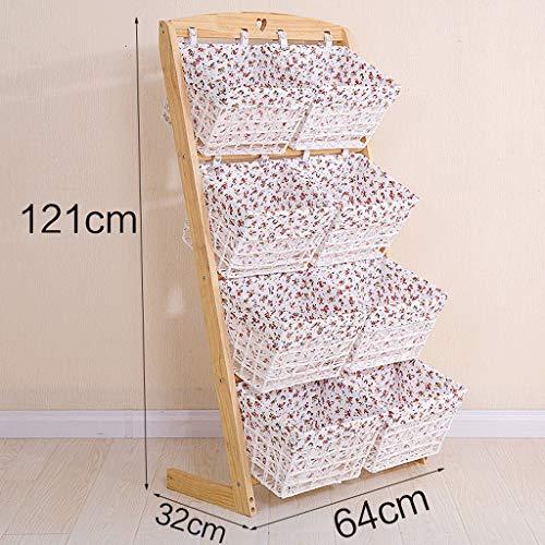 LPZ Massivholz Lagerung mehrschichtigen Regal Wohnzimmer Schlafzimmer Tuch Rattan Korb Kleinigkeiten Lagerung Regal Regal LPZV (Farbe : C) -