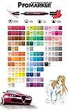 Winsor & Newton Letraset ProMarker Pantone Marqueur à double pointe TWIN TIP (pointe fine + pointe biseautée), 148tons pour dessins de mode, design, manga, BD et illustrations