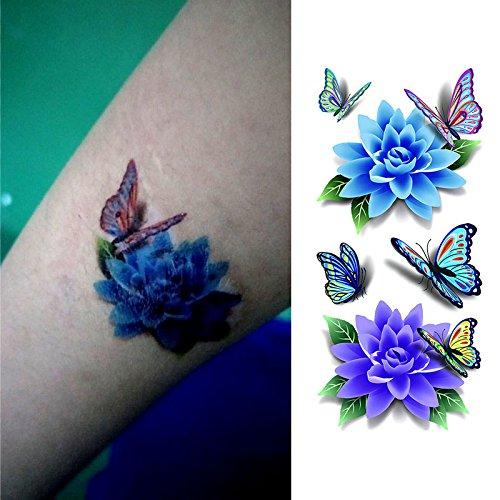 Oottati Tatuajes Temporales 3D Flor De Mariposa (2 hojas)
