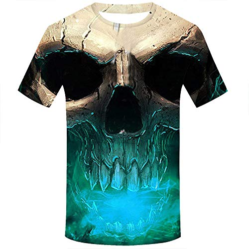 T-Shirt mit 3D-Druck, Unisex, für Herren und Damen, kurzärmlig, für Urlaub, Party, Kostüm, Totenkopf, Bluse