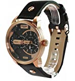 Diesel Mini Daddy Men's Quartz Watch with Multicolour Dial Analogue Display and Black Leather Bracelet Dz7317