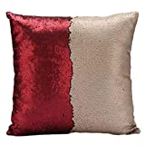 Bluester Double Color DIY Two Tone Glitter Sequins Throw Pillows Cushion Cover Home Décor (D)