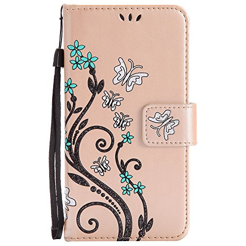 LG K8 Case Gold Leather, Cozy Hut Retro Butterfly Flower Patterned Embossing PU Leather Stand Function Protective Cases Covers with Card Slot Holder Wallet Book Design Detachable Hand Strap for LG K8 - Gold