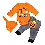 33bd53f1c1ed7b SUMTTER Neonato Bambino Halloween Lettera Zucca Pagliaccetto Tuta E  Pantaloni Impostato Abiti