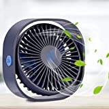 RenFox USB Desktop Fan Mini Desk Fan Three Adjustable Speed Noiseless USB Powered Fan 5 Inch Portable Personal Fan with 5 Blades for Home Office