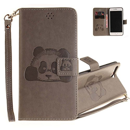 Aeeque® iPhone 7 plus Kaffee Brieftasche,iPhone 7 plus Flip Skin Schale,[Cute Tier Panda Muster] Kartenfach Standfunktion Schutzhülle für iPhone 7 PLUS 5.5 Zoll mit Abnehmbar Handy Lanyard und Weich S Panda Grau