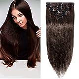 Extensiones de Cabellos Naturales Clips Pelo Humano 100% REMY 8 Piezas 18 Clips para el pelo muy fino (#2 Marrón oscuro 50cm 70g)