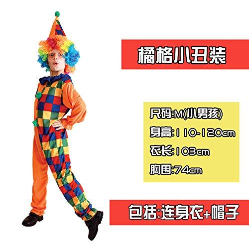 ChengBai der Clown Kostüm Halloween Kinder clothingcosplay lustige Clown zeigt Kleidung mit männlichen und weiblichen Erwachsenen Kit, 48# orange, Clown ()