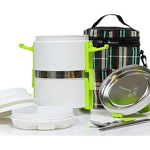 FOOD JIA Acero inoxidable gran capacidad doble capa multicapa aislado lonchera, cubo aislado Bento cajas 1.6L , green ,