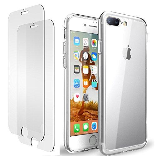 iPhone 7 Plus 8 Plus Hülle, iPhone 7 Plus 8 Plus Panzerglas, E-Unicorn Apple iPhone 7 Plus 8 Plus Hülle Silikon Transparent Durchsichtig Tasche Schutzhülle + 2 Stück Schutzfolie Glas Folie Zubehör 9H 3D