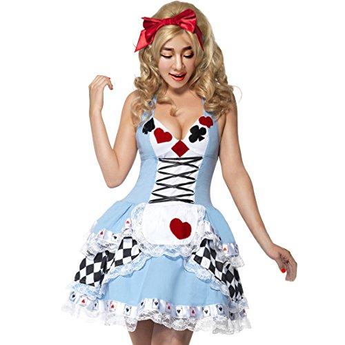 Partiss Damen Alice im Wunderland Halloween Kostueme Poker Prinzessin Mini Dirndl Trachtenkleid,Tag M/EU XS,Blue (Plus Size Alice Im Wunderland Halloween Kostüme)
