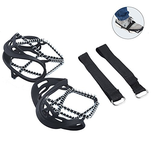 RUNACC Ice Snow Ground Antiskid Crampons Spikes Grips Traction Cleats for Walking, Jogging, or Hiking on Snow and Ice, Black