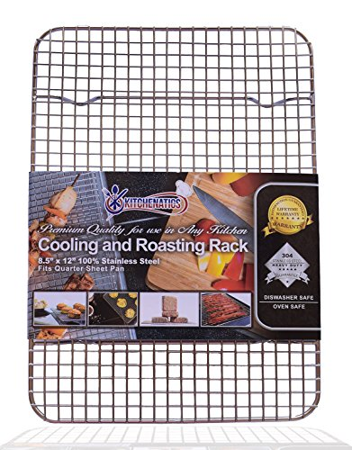 Kitchenatics Professional Grade Stainless Steel Cooling and Roasting Rack for Cookies, Cakes Oven-Safe for Cooking, Smoking, Grilling, BBQ - Heavy Duty Rust-Resistant (21.59 cm x 30.48 cm)