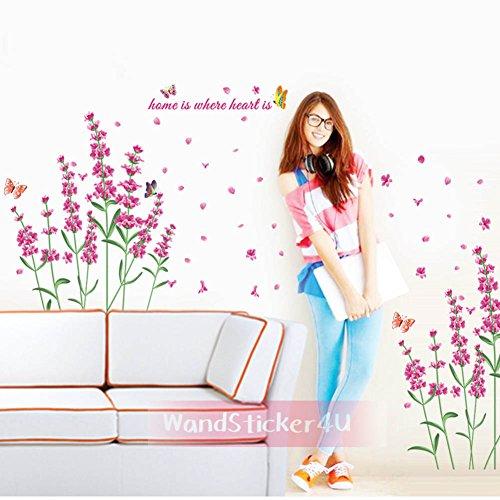 wandsticker4u-lavendel-blumen-schmetterlinge-blute-pflanzen-pink-rosa-wandaufkleber-wandtattoo-wand-