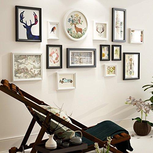 Holz-Bilderrahmen-Set zur Wandmontage Home Mall - Moderne Bilderrahmen Wand + Kombinierte Holz-Bilderrahmen + für das Wohnzimmer im Flur + 14er-Set, Multi-Bilderrahmen-Set aus Holz/Weiß und Sc