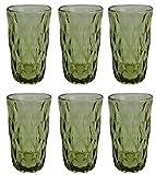 Vintage 6 Teile Set Rombus König Trinkglas Glas Gläser Weingläser Wasserglas Longdrinkglas (grün)