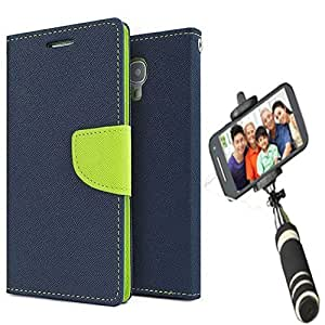 Aart Fancy Diary Card Wallet Flip Case Back Cover For Redmi 1s - (Blue) + Mini Aux Wired Fashionable Selfie Stick Compatible for all Mobiles Phones By Aart Store