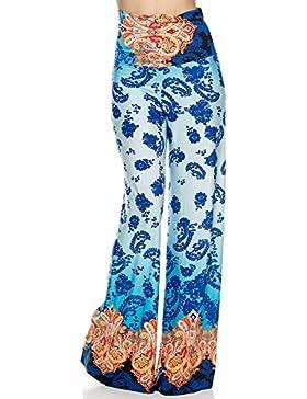 Verano Flair for U Mujer Pantalón lässiges Diseño Super Cómodo elástico Pantalones azul turquesa naranja multicolor