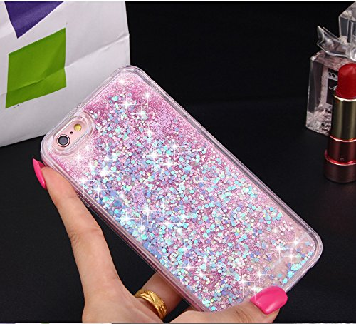 Sunroyal iPhone 7 Liquid Hülle weiß/lila mit Herzen, Quicksand Dynamic Dynamic Flüssiges Case, Glitter Hülle Cool 3D Fließen Flüssig Bling Schwimmend Treibsand Stern Luxus Shiny Case Glanz Shiny Effek Pattern 05