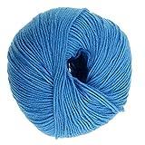 F Fityle 50g Baumwollgarn zum Häkeln und Stricken, Strickwolle, Wollknäuel, Wolle Häkelfaden für Handstricken - Blau 2
