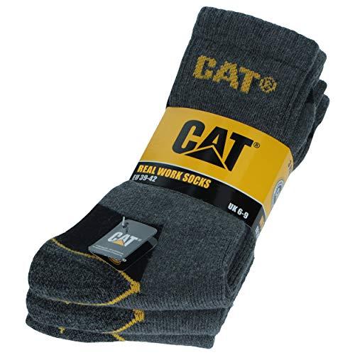 Caterpillar 3 Paare Herren-Arbeitssocken CAT Unfallverhütung Verstärkt an Ferse und Spitze mit verstärktem Schuss Garn von ausgezeichneter Qualität Baumwollschwamm (Anthrazit, 39-42)