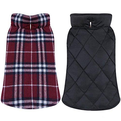 Tineer Wasserdichte Reversible Hundejacke Designer Warm Plaid Winter Hundemäntel Britischen Stil Haustier Kleidung Large Medium Dogs Coat (L, Red) -