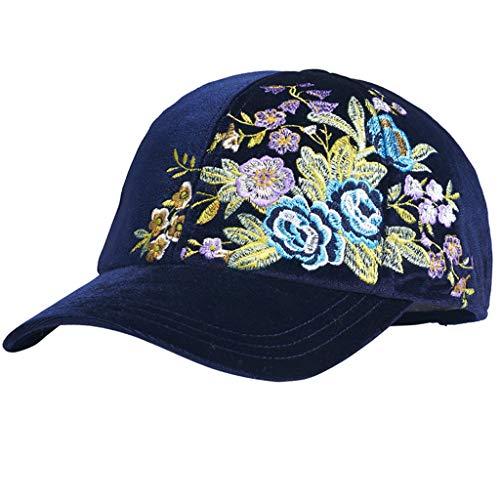 NJ Hut- Herbst und Winter retro Stickerei dicke samt Cord Baseball Cap weiblich (Farbe : Blau, größe : 56.5-58.5) -