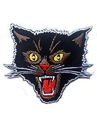 Black Screaming Cat Rockabilly Horror Tattoo Goth Punk Rock Aufnäher Patch