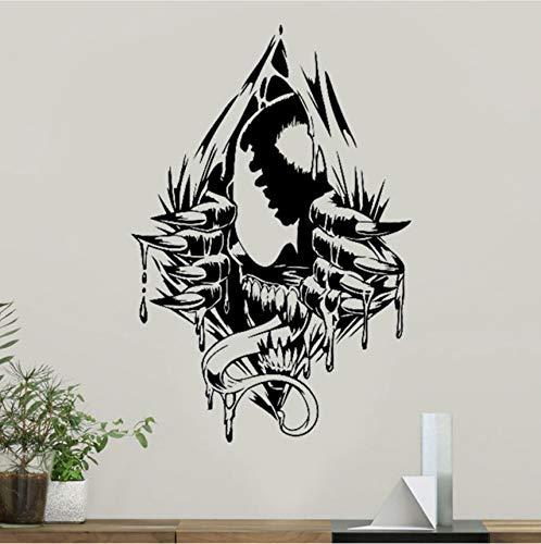 Fyyanm Venom Wall Art Decal Venom Etiqueta de vinilo Superhéroe Marvel Comics Patrones Decoraciones de la habitación de adolescentes Extraíble Home Art Decor 57X85cm