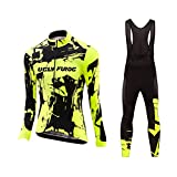 Uglyfrog Damen Winter Fleece Radtrikot Set Fahrrad Trikot Langarm + Radlerhose Thermo Winddicht