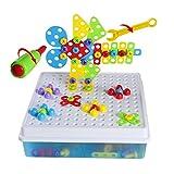 Brigamo 2404 - ⚒ Mosaik Steckspiel, 3D Puzzle Konstruktionsspielzeug Baukasten Set mit Kinderwerkzeug ⚒