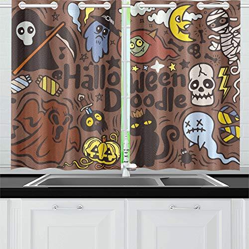 oster-Design-Set Vampir-Küchenvorhänge Fenstervorhangebenen für Café, Bad, Wäscherei, Wohnzimmer Schlafzimmer 26 x 39 Zoll 2 Stück ()