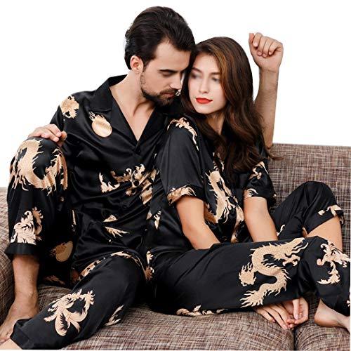 AXIANQI Frühling Und Herbst Paare Hoch Imitation Silk Thin Pyjamas Set Chinesischen Stil Kurzarm Sleeve Home Wear A (Farbe : SCHWARZ, größe : Men's L) -