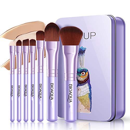 Runde Erröten Bürste (7 Stück Make-up Pinsel Set Foundation Pinsel Lip Pinsel Schwamm Stick Fein Bürsten Uniform Erröten Pinsel Schönheit Make-up-Tool,Purple)