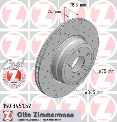 Preisvergleich Produktbild ZIMMERMANN 150.3451.52 Bremsscheibe Scheibenbremsen, Bremsscheiben (x2)