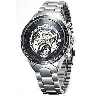 Ama-ZODE Männer schwarze Skeleton automatische mechanische Silber Edelstahl Band-Uhr
