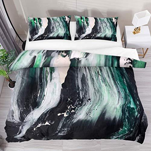 Soefipok Bettwäsche Bettbezug-Set Art Abstract Mess Grün bedrucktes Tröster-Set mit 2 Kissenbezügen 3-teilig, 1 Bettbezug mit 2 Kissenbezügen - Abstract Tröster
