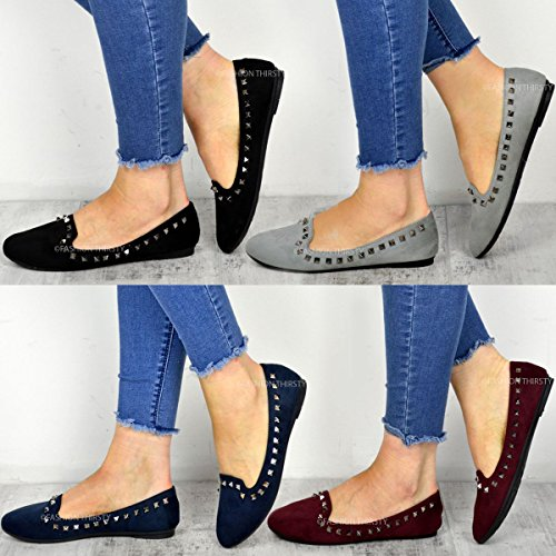 Chaussures à enfiler style ballerines - talon plat - clous décoratifs - femme/fille