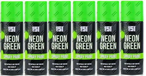 6x 200ml Neonfarbenspray, fluoreszierend, Aerosol, Auto, Kunst, Graffiti, grün (Grün Aerosol)